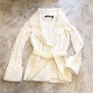 Express cream white long cardigan duster sweater